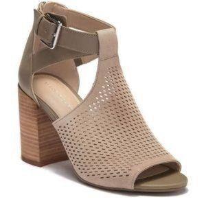 MARC FISHER Gabie Stacked Heel Bootie Sandal sz 8M